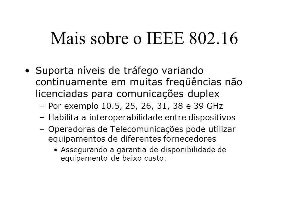 Mais sobre o IEEE 802.16 Suporta níveis de tráfego variando continuamente em muitas freqüências não licenciadas para comunicações duplex.