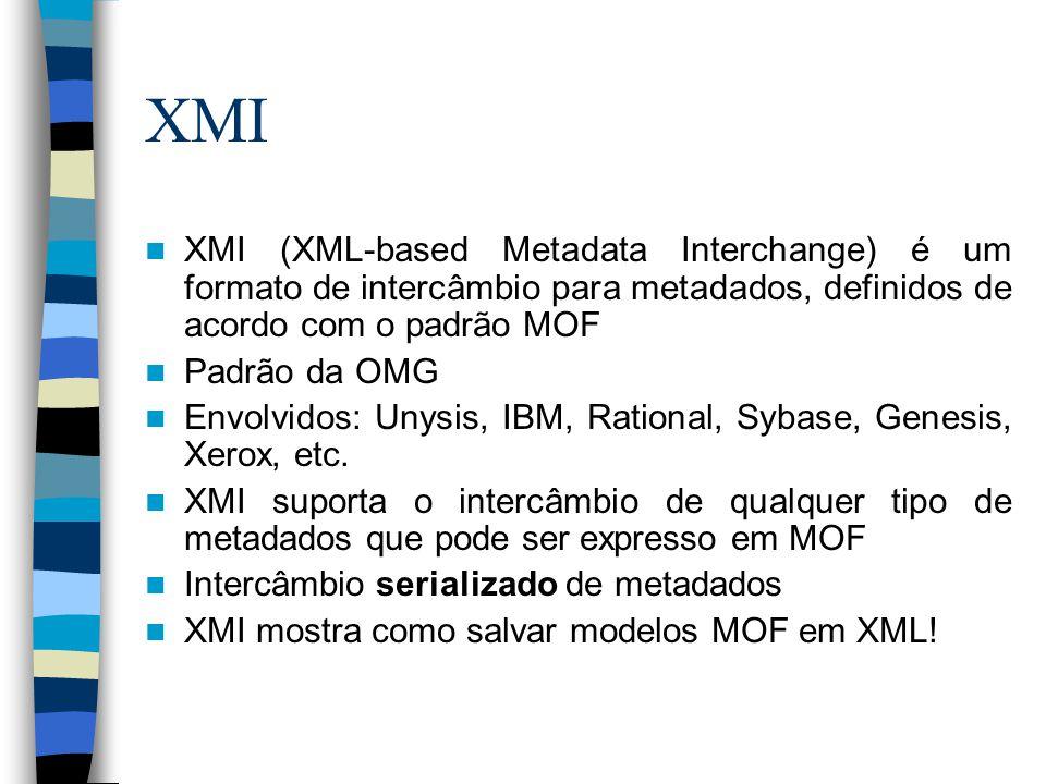 XMI XMI (XML-based Metadata Interchange) é um formato de intercâmbio para metadados, definidos de acordo com o padrão MOF.