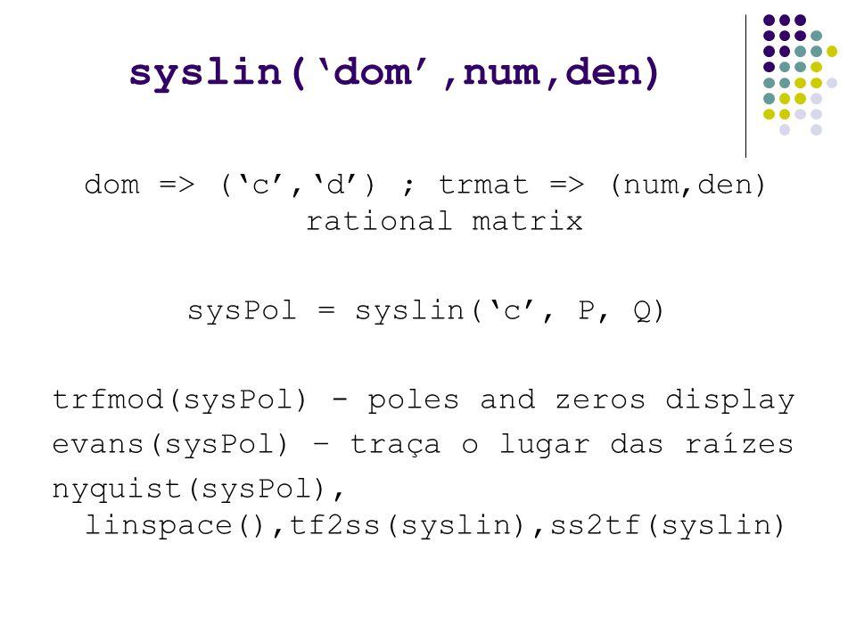 syslin('dom',num,den) dom => ('c','d') ; trmat => (num,den) rational matrix. sysPol = syslin('c', P, Q)