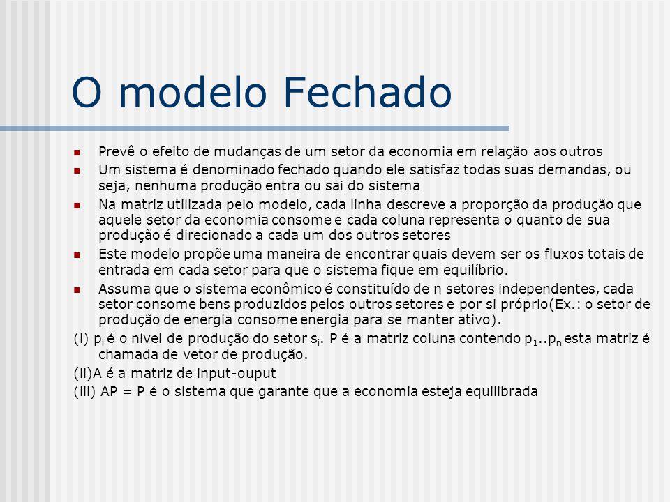 O modelo Fechado Prevê o efeito de mudanças de um setor da economia em relação aos outros.