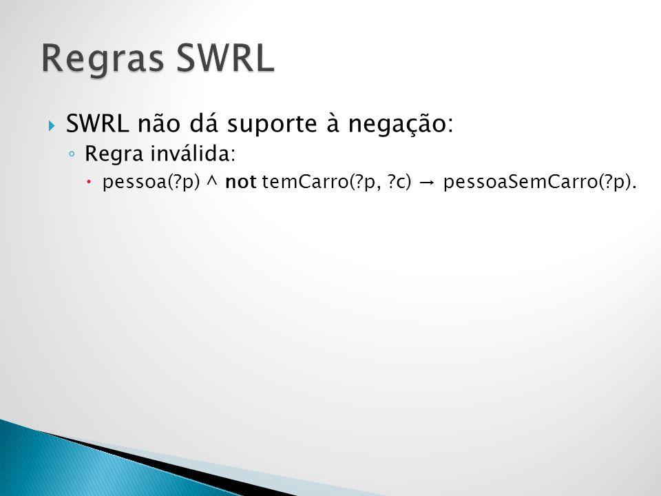 Regras SWRL SWRL não dá suporte à negação: Regra inválida: