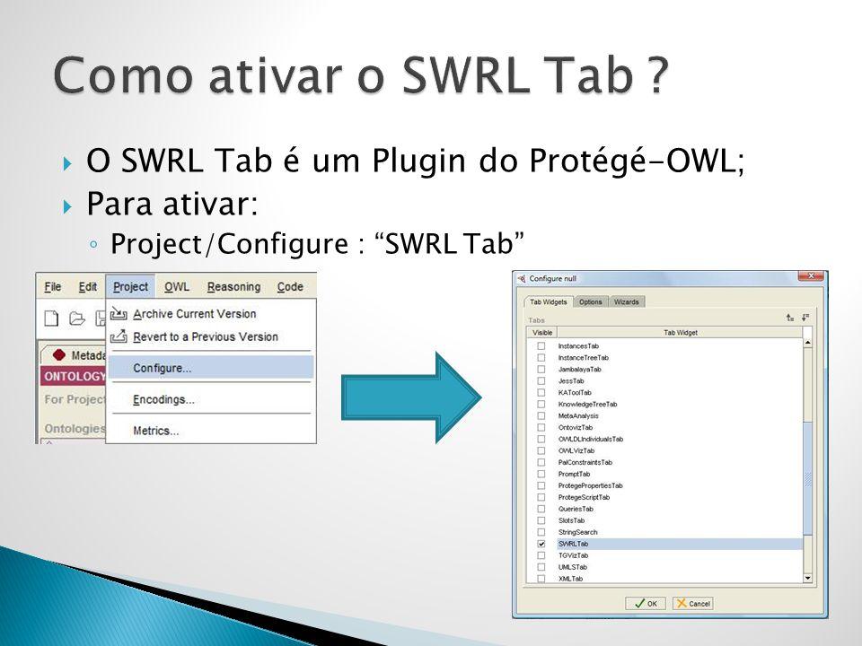 Como ativar o SWRL Tab O SWRL Tab é um Plugin do Protégé-OWL;