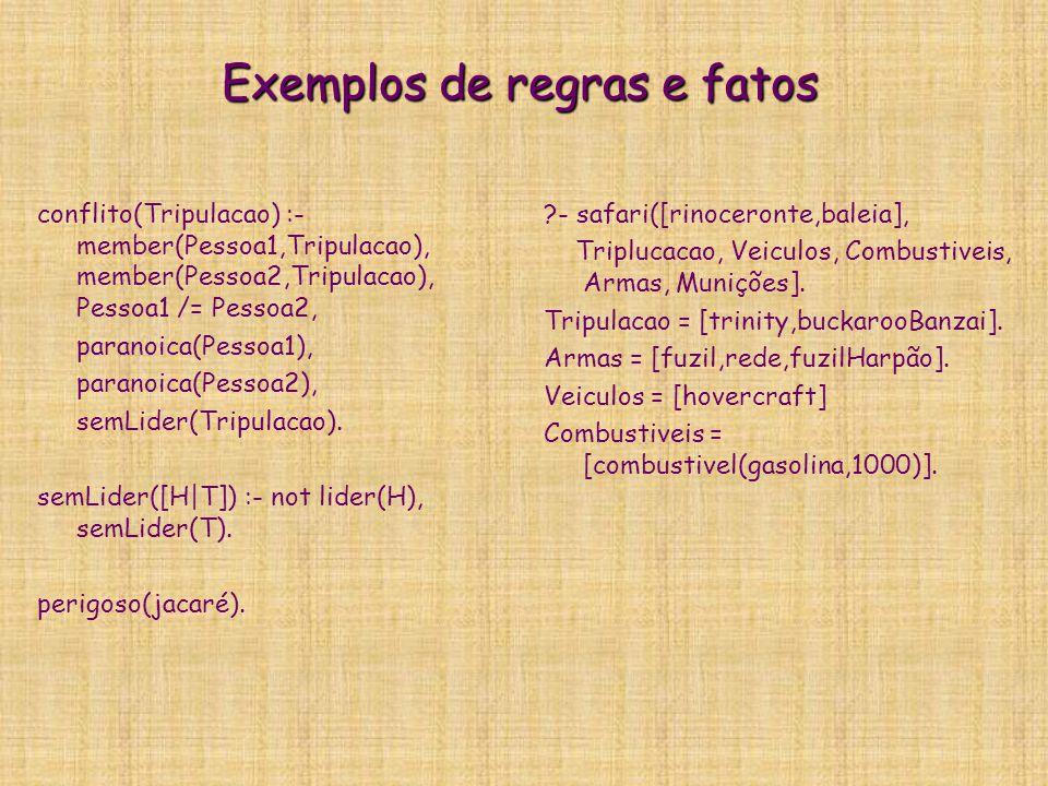 Exemplos de regras e fatos
