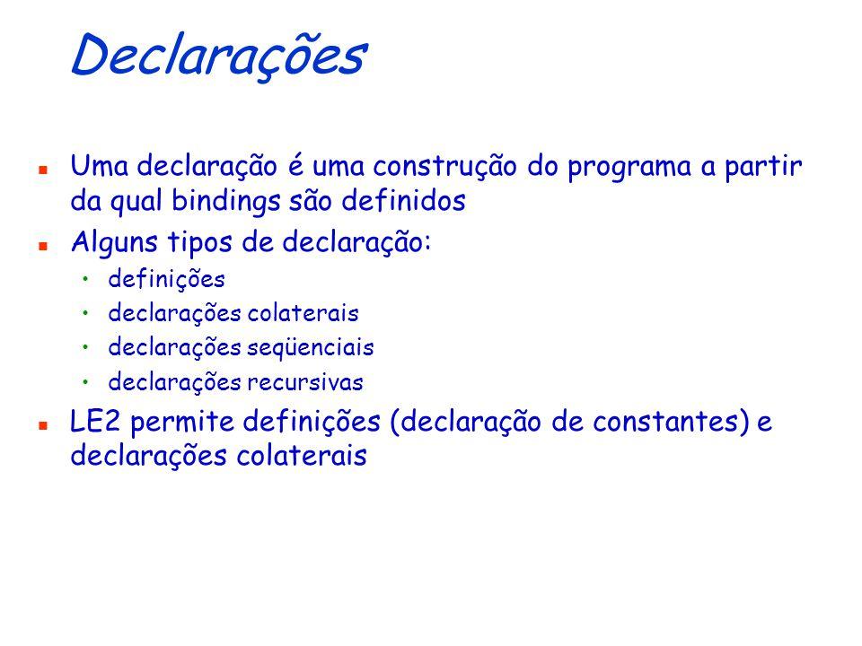 Declarações Uma declaração é uma construção do programa a partir da qual bindings são definidos. Alguns tipos de declaração: