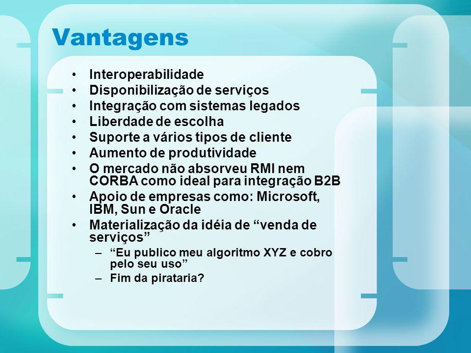 Vantagens Interoperabilidade Disponibilização de serviços