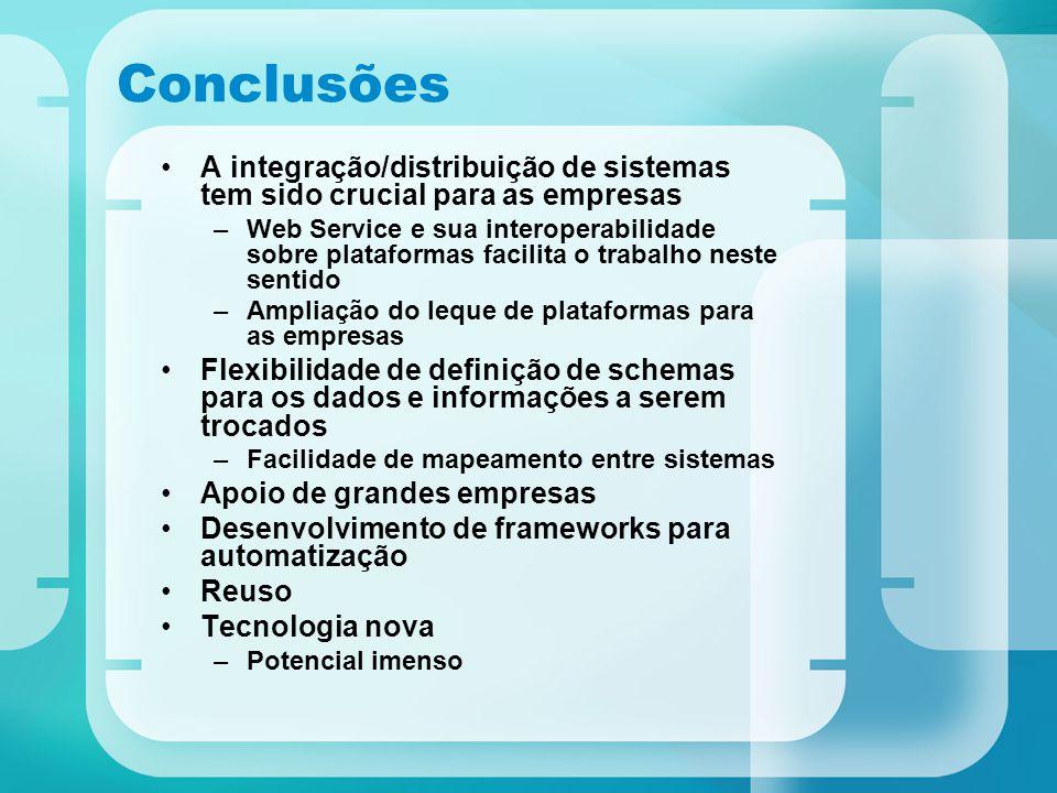 Conclusões A integração/distribuição de sistemas tem sido crucial para as empresas.