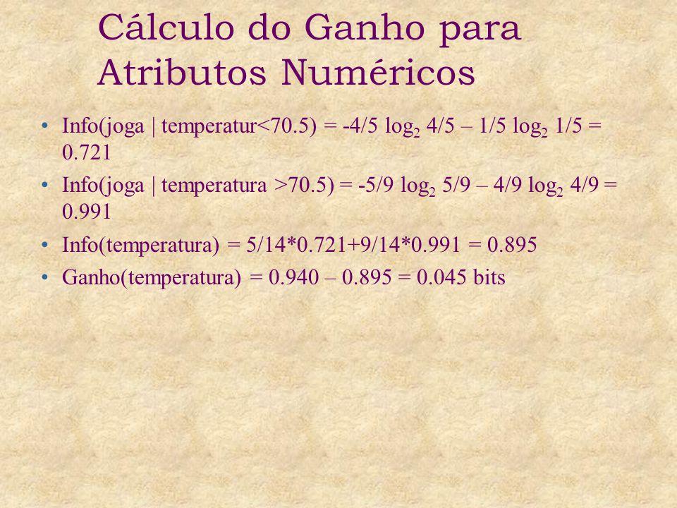 Cálculo do Ganho para Atributos Numéricos