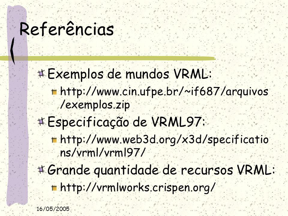 Referências Exemplos de mundos VRML: Especificação de VRML97: