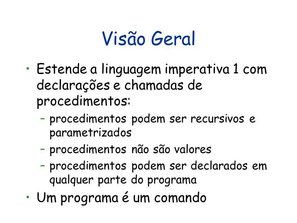 Visão Geral Estende a linguagem imperativa 1 com declarações e chamadas de procedimentos: procedimentos podem ser recursivos e parametrizados.