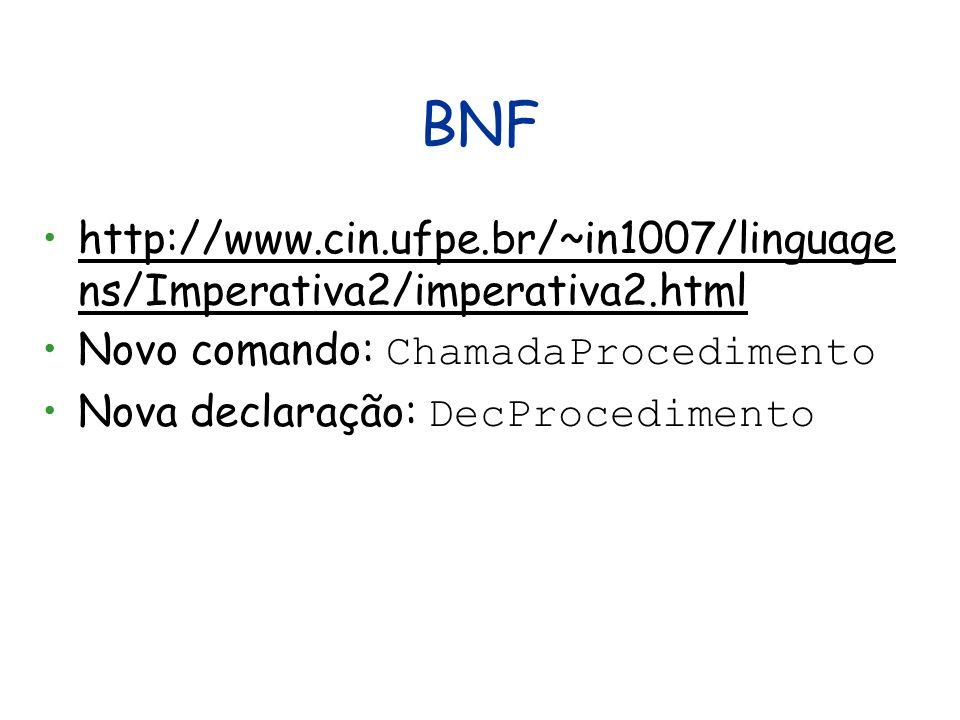 BNF http://www.cin.ufpe.br/~in1007/linguagens/Imperativa2/imperativa2.html. Novo comando: ChamadaProcedimento.