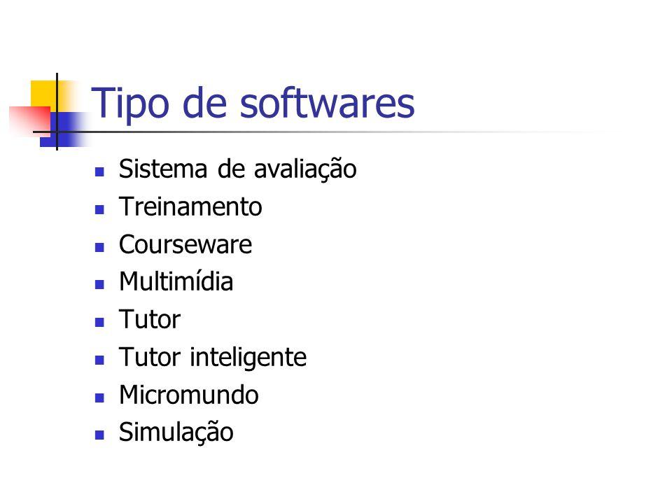 Tipo de softwares Sistema de avaliação Treinamento Courseware