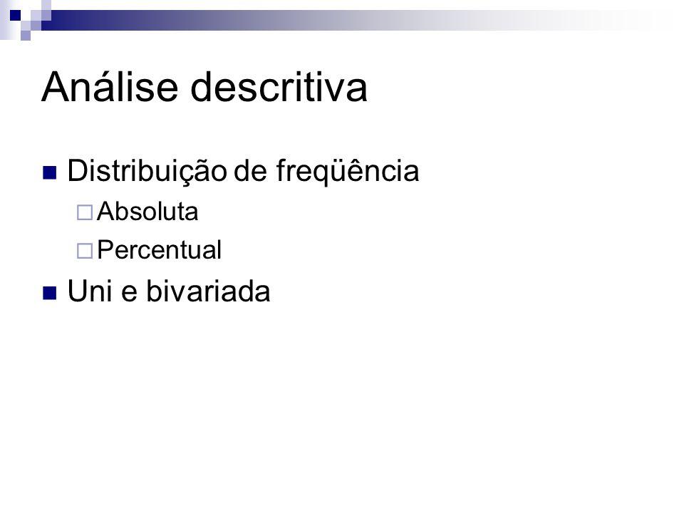 Análise descritiva Distribuição de freqüência Uni e bivariada Absoluta