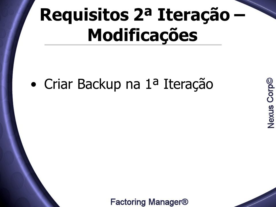 Requisitos 2ª Iteração – Modificações