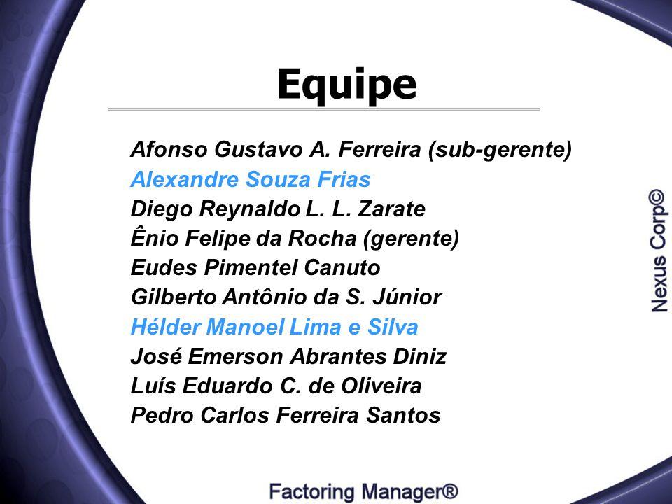 Equipe Afonso Gustavo A. Ferreira (sub-gerente) Alexandre Souza Frias