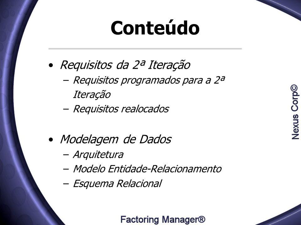 Conteúdo Requisitos da 2ª Iteração Modelagem de Dados