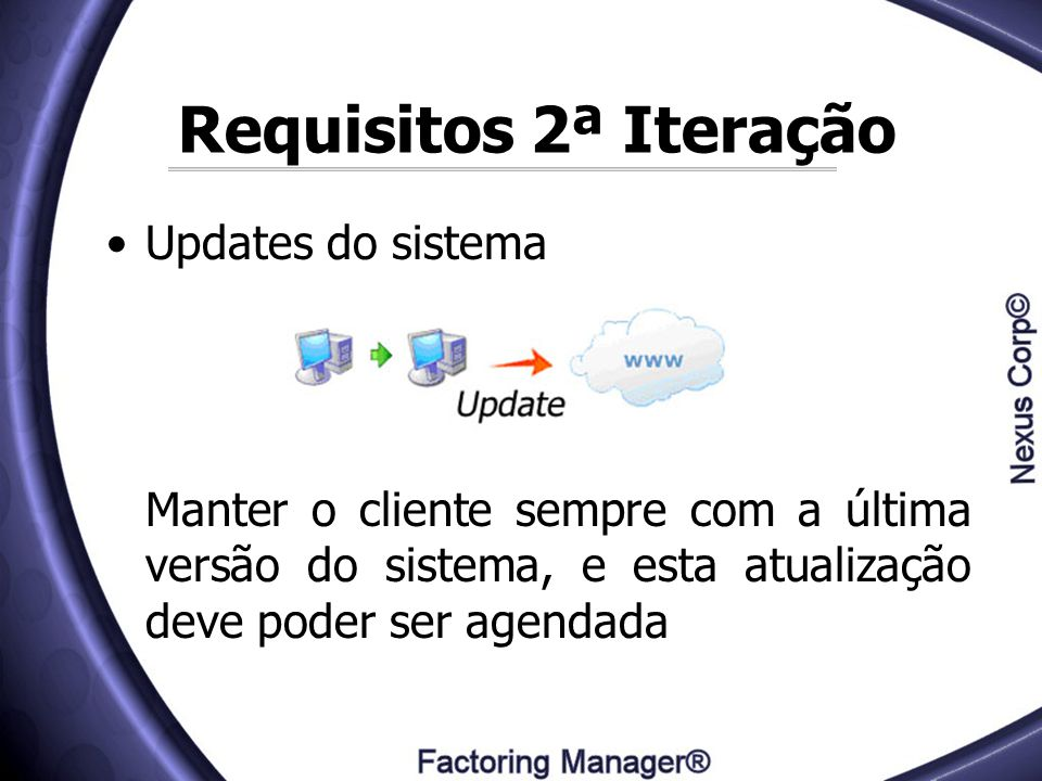 Requisitos 2ª Iteração Updates do sistema
