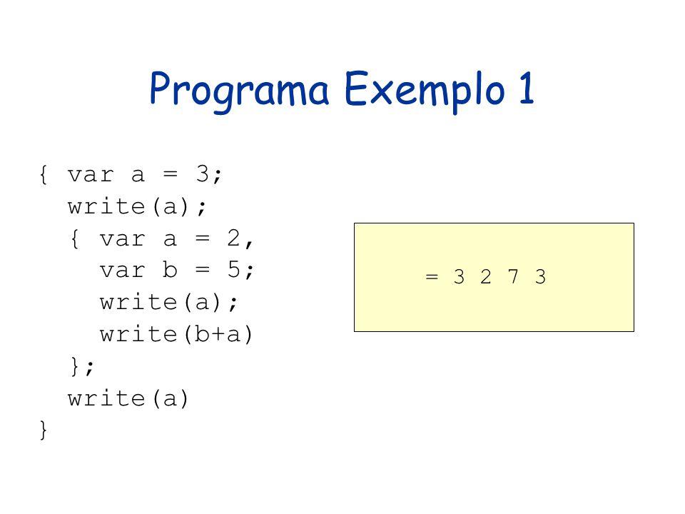 Programa Exemplo 1 { var a = 3; write(a); { var a = 2, var b = 5;