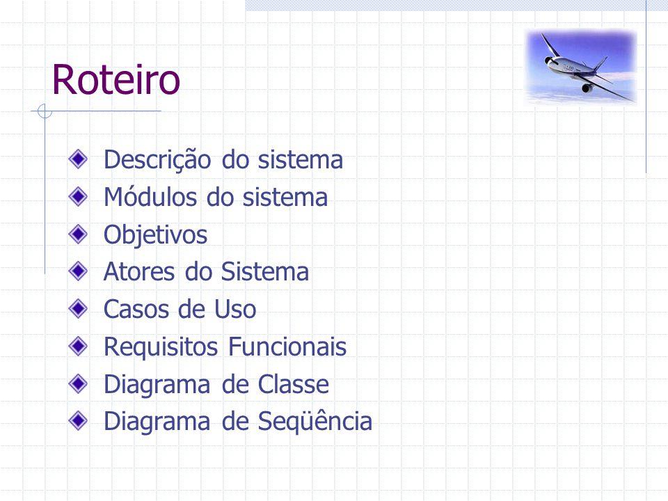 Roteiro Descrição do sistema Módulos do sistema Objetivos