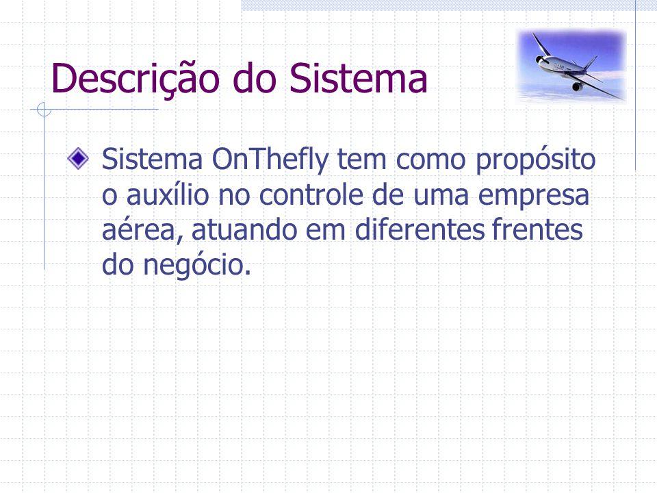 Descrição do Sistema Sistema OnThefly tem como propósito o auxílio no controle de uma empresa aérea, atuando em diferentes frentes do negócio.