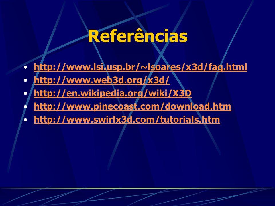 Referências http://www.lsi.usp.br/~lsoares/x3d/faq.html