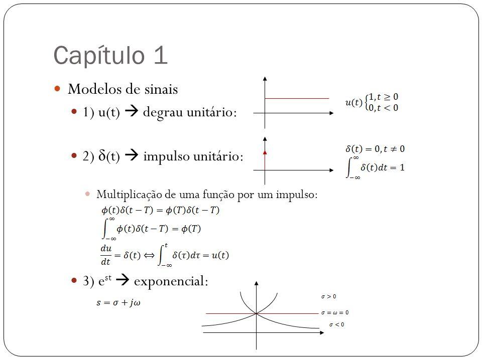 Capítulo 1 Modelos de sinais 1) u(t)  degrau unitário: