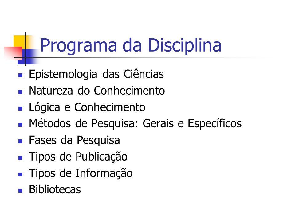 Programa da Disciplina