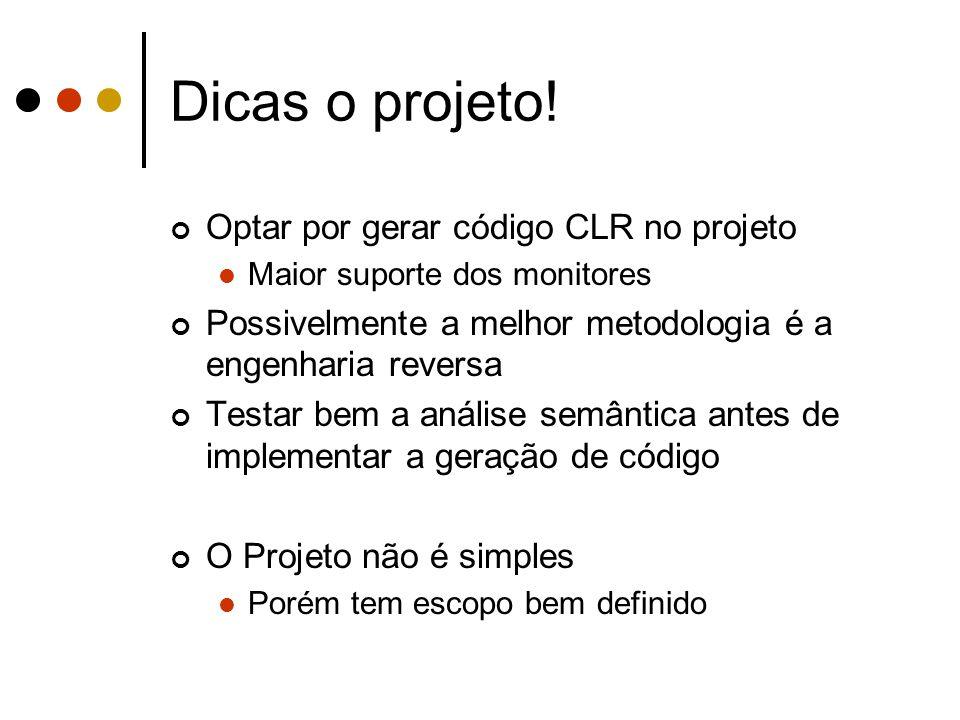 Dicas o projeto! Optar por gerar código CLR no projeto