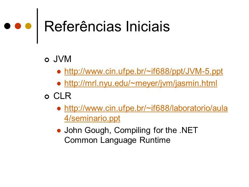 Referências Iniciais JVM CLR