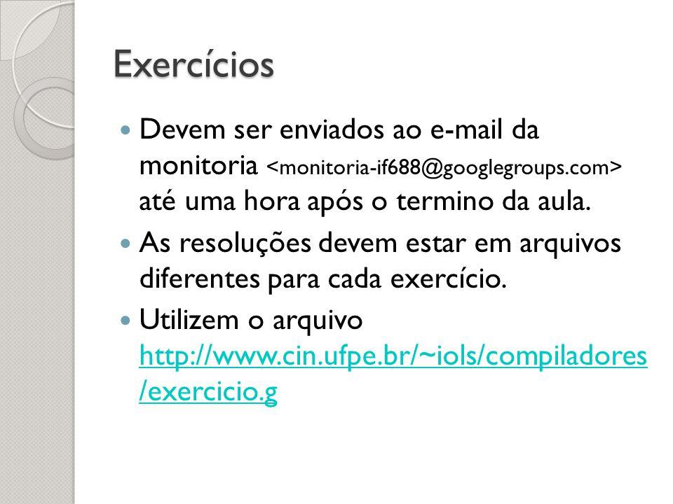 Exercícios Devem ser enviados ao e-mail da monitoria <monitoria-if688@googlegroups.com> até uma hora após o termino da aula.