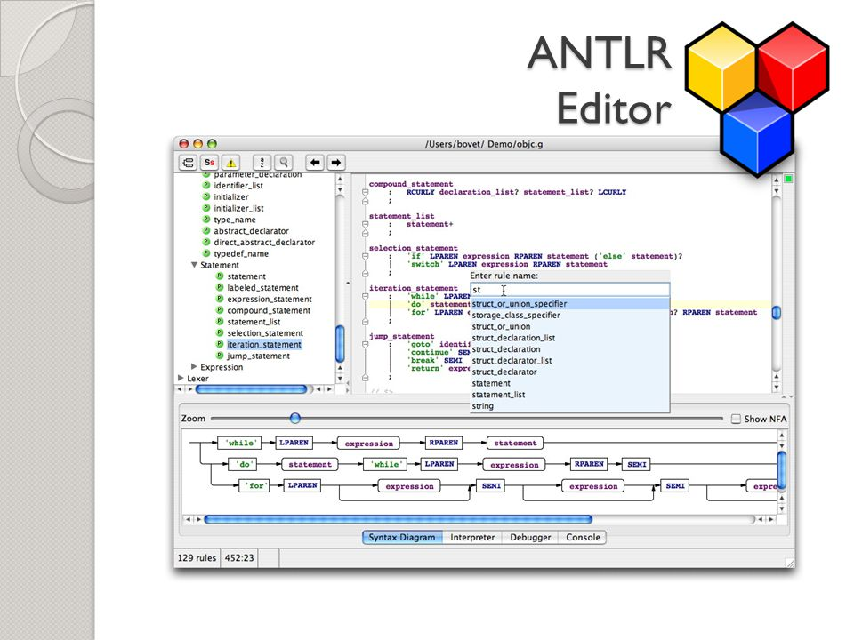 ANTLR Editor Auto-completion; syntax highlighting;