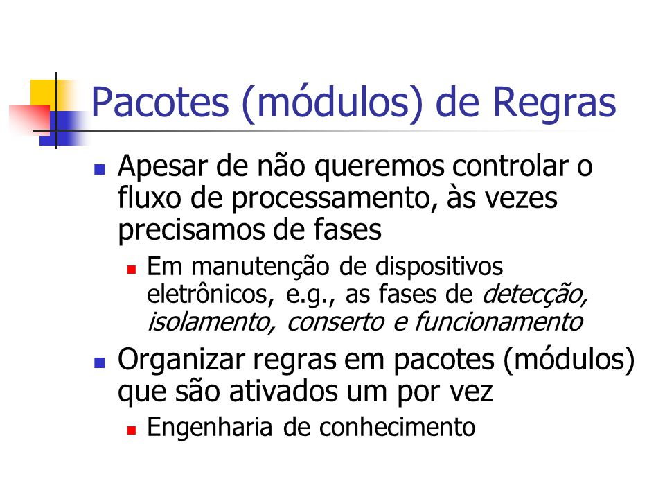 Pacotes (módulos) de Regras