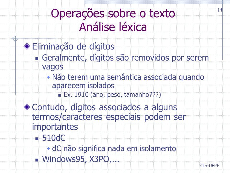 Operações sobre o texto Análise léxica