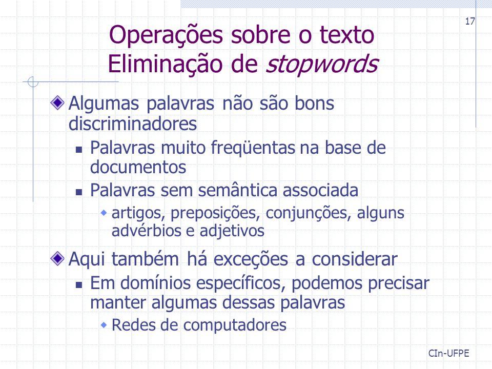 Operações sobre o texto Eliminação de stopwords
