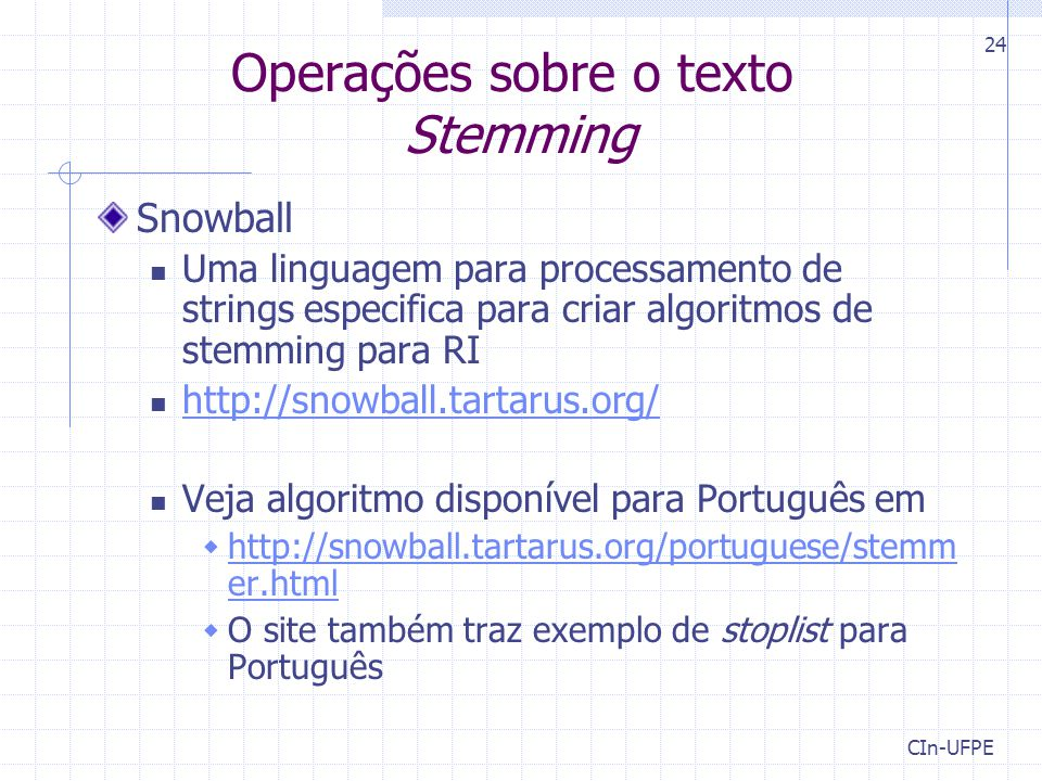 Operações sobre o texto Stemming