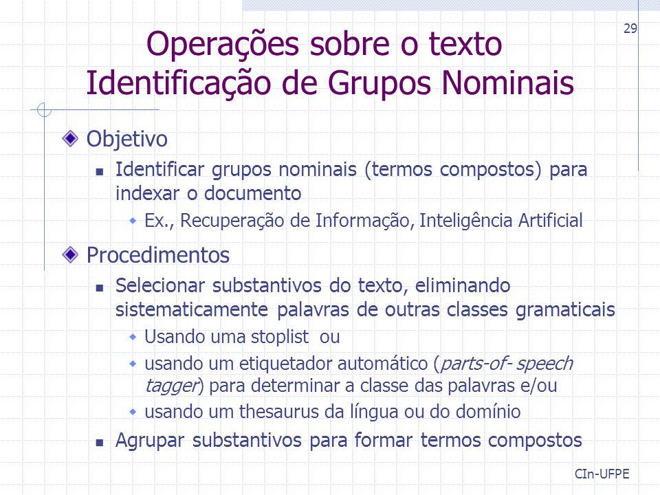Operações sobre o texto Identificação de Grupos Nominais