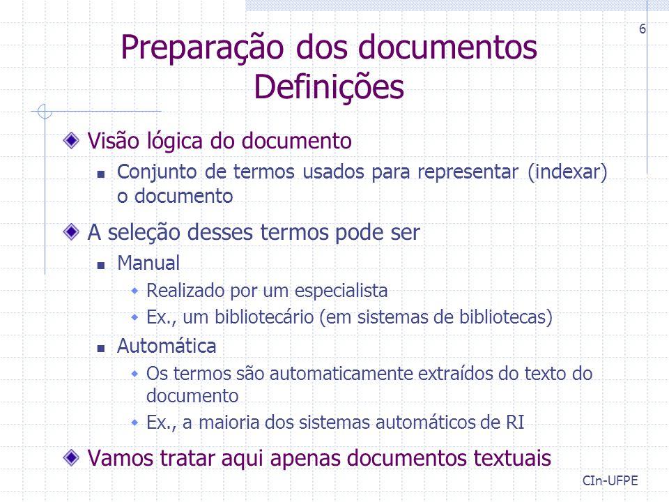 Preparação dos documentos Definições
