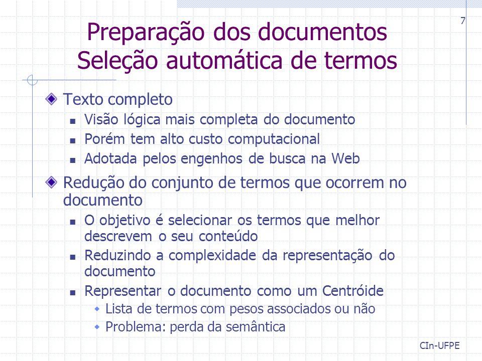 Preparação dos documentos Seleção automática de termos