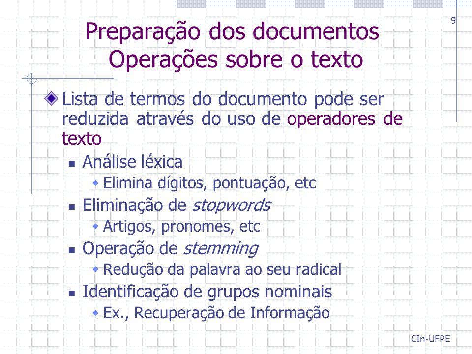 Preparação dos documentos Operações sobre o texto