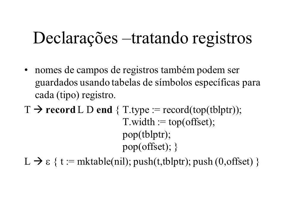 Declarações –tratando registros