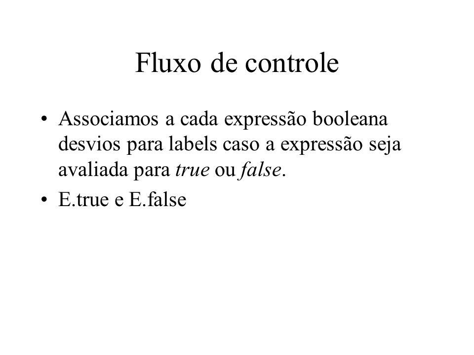 Fluxo de controle Associamos a cada expressão booleana desvios para labels caso a expressão seja avaliada para true ou false.