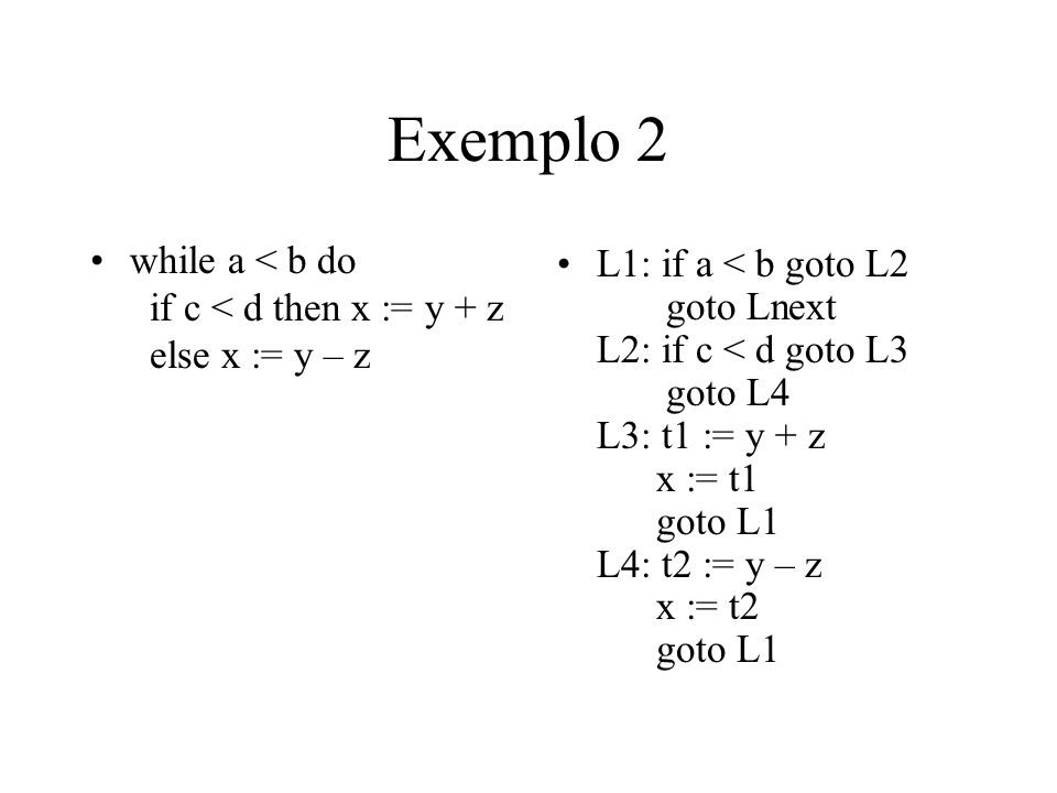 Exemplo 2 while a < b do if c < d then x := y + z else x := y – z.