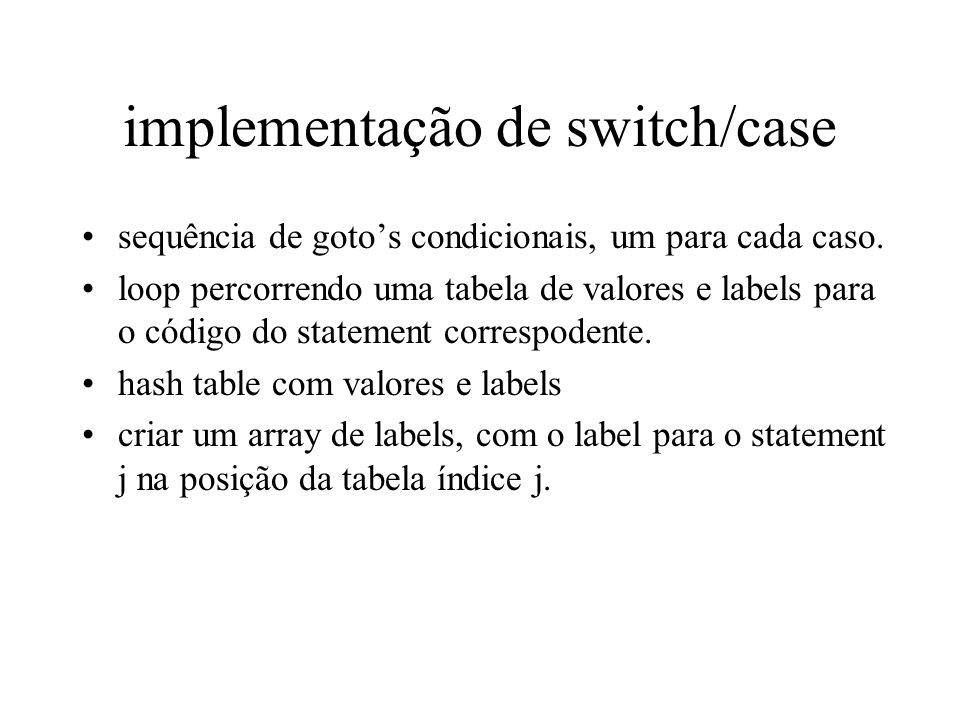 implementação de switch/case