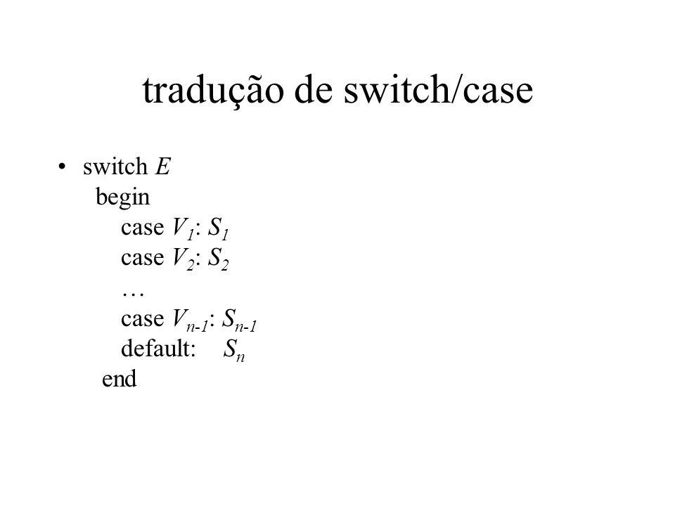 tradução de switch/case