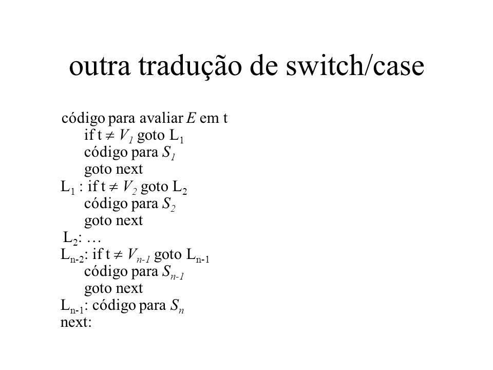 outra tradução de switch/case