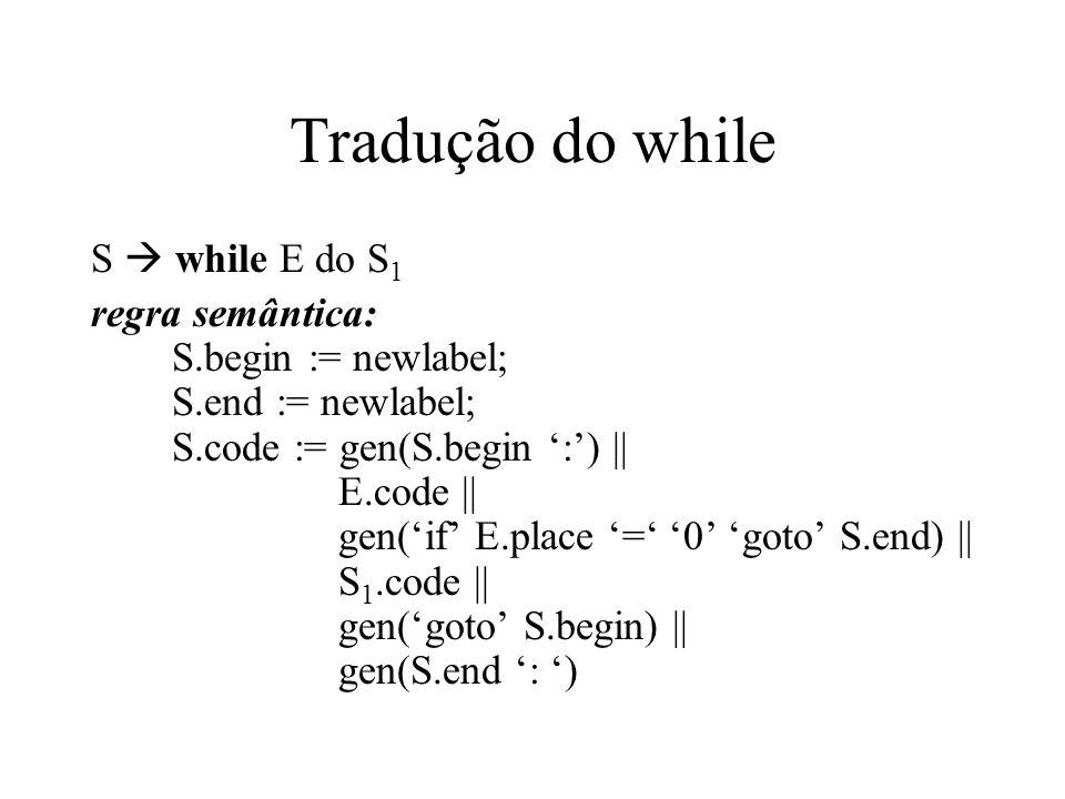 Tradução do while S  while E do S1