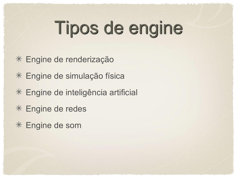 Tipos de engine Engine de renderização Engine de simulação física