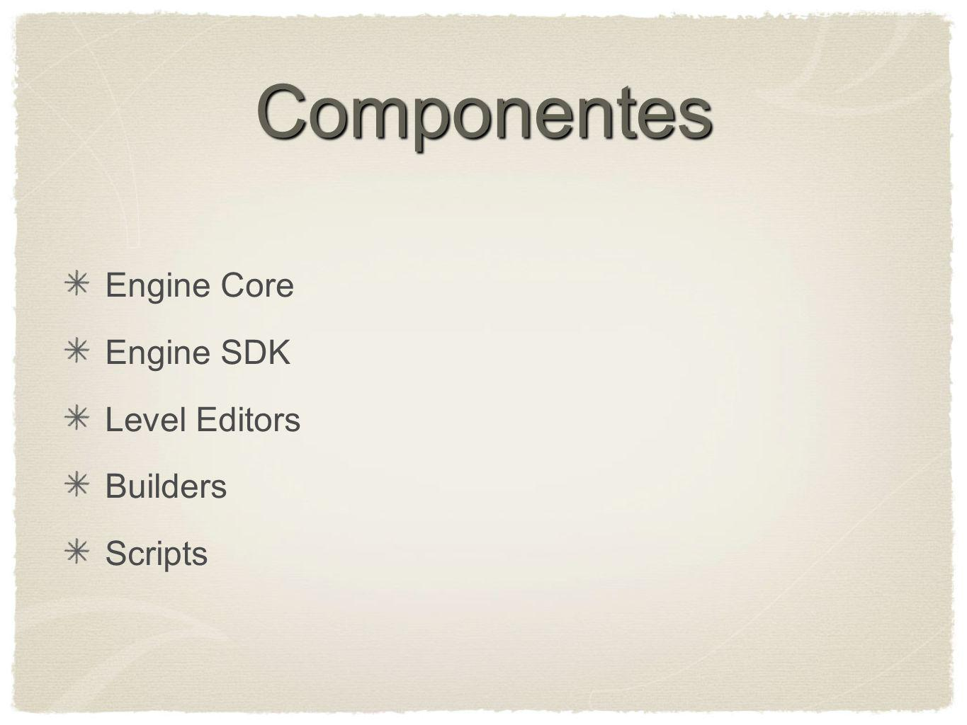 Componentes Engine Core Engine SDK Level Editors Builders Scripts