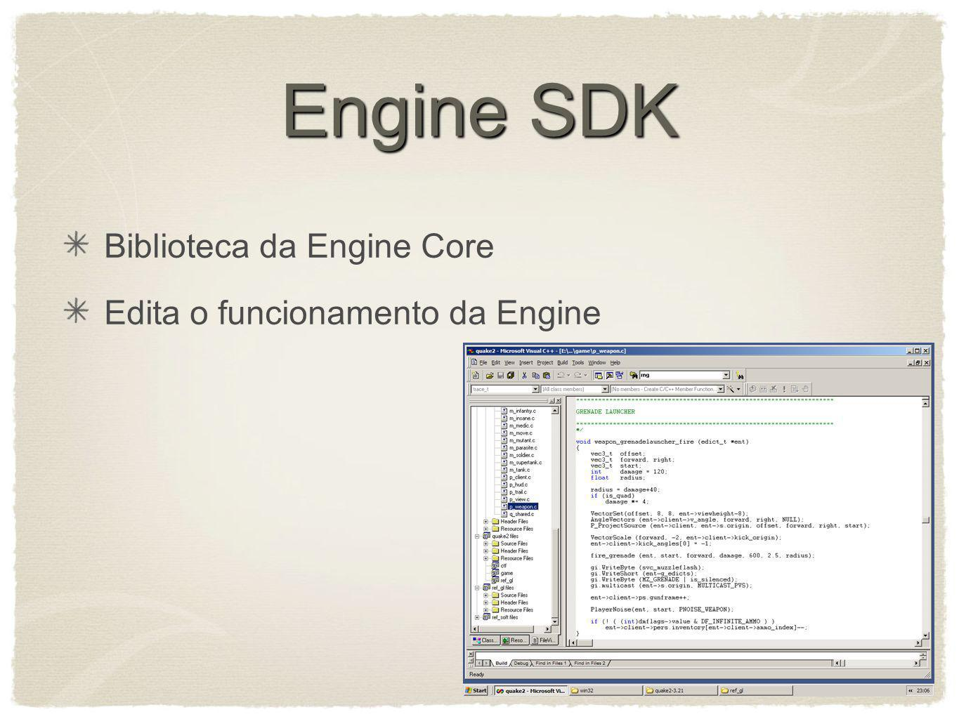 Engine SDK Biblioteca da Engine Core Edita o funcionamento da Engine