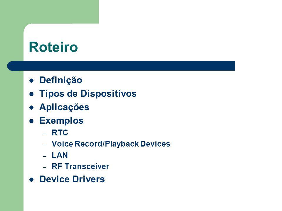 Roteiro Definição Tipos de Dispositivos Aplicações Exemplos