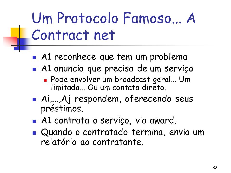 Um Protocolo Famoso... A Contract net